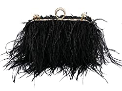 Ostrich Feather Fluffy Clutch Bag