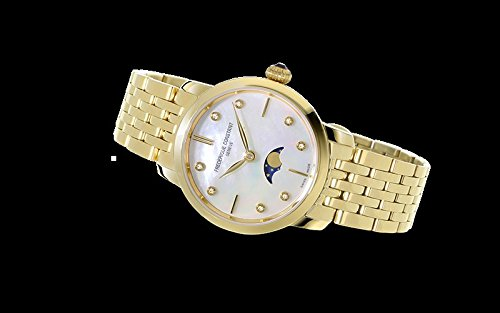 FREDERIQUE CONSTANT FC-206MPWD1S5B SLIM LINE MIDSIZE Women's Mother Of Pearl Dial Moon-Phase Watch, Gold
