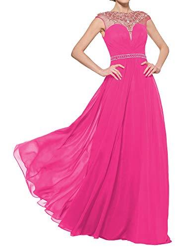 Jkara Woman Beaded Chiffon Gown - Long Mother of Bride Wedding Dresses Women Chiffon Formal Evening Gowns Beaded Fuchsia US2