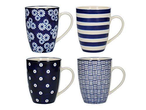 Pottery Navy (London Pottery Out of the Blue Tulip Coffee Cups/Tea Mug Set with Assorted Patterned Designs, Stoneware, Navy Blue, 280 ml (4 Pieces))