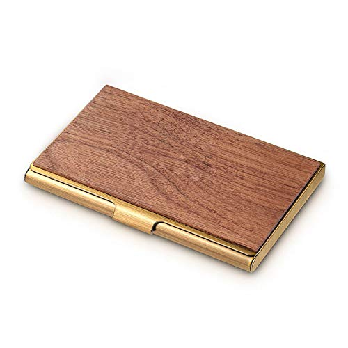 (Mini Wood Metal Business Card Case Slim Bank Credit Id Card Holder Front Pocket for Gift,As Picture2)