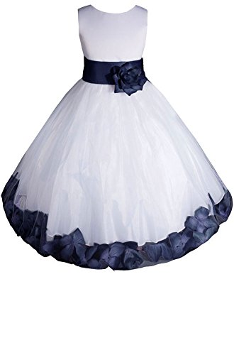 AMJ Dresses Inc Big Girls' White/navy Blue Flower Pageant Dress E1008 Sz 8 -