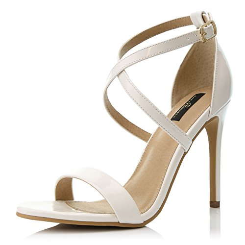 DailyShoes Women's Open Toe Ankle Buckle Cross Strap Platform Pump Evening Dress Party High Heel Jennifer-22 Sandals, White PT, 5.5 B(M) US - Buckle Strapped Platform