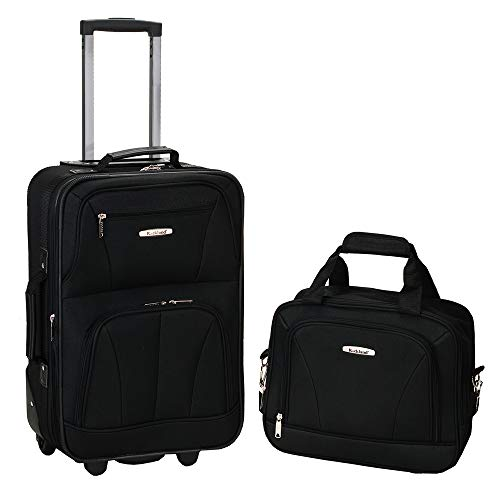 Rockland Luggage 2 Piece Set, Black, Medium (Best 4 Wheel Suitcase Review)