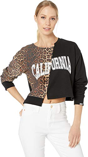 Juicy Couture Women's Cali Leopard Split Logo Terry Pullover Multi Flower Large - Juicy Couture Leopard