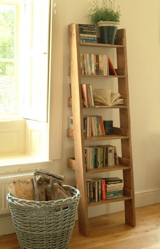 Leisure Traders Oak Shelf Ladder Bookshelf Media Storage Display Unit Amazoncouk Kitchen Home