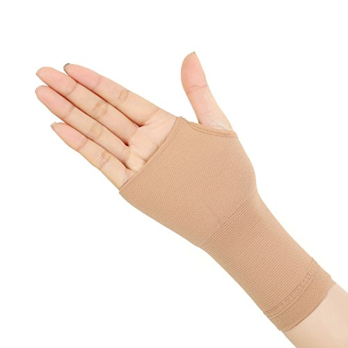 Spotbrace Medical Wrist Hand Support, 1 Pair Elastic Thin Palm Brace, Pain Relief Compression Sleeves For Wrist Swelling, Soreness, Loosing and Sprained Men Women(Nude)-Fit Both - Quality Nude Women