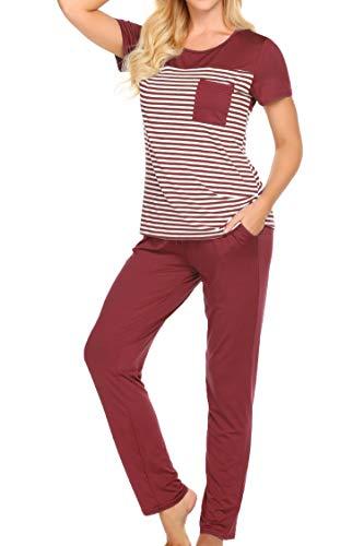 (Women's Sleepwear Top Shirts with Capri Lounge Pant Knit Pajama Set (Black, M))