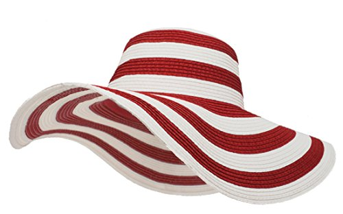 Roffatide Women's UPF50+ Foldable Striped Straw Sun Hat Floppy Wide Brim Beach Cap Red