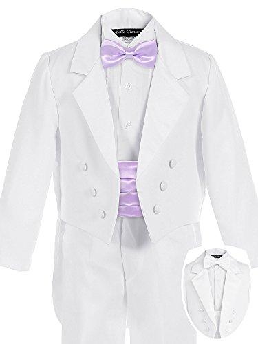 Lilac Cummerbund (Bello Giovane Boys White Penguin Tuxedo with Colored Cummerbund 7 Piece Set (8, Lilac))