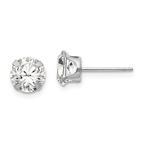 14k White Gold Polished Snap setting 6.5mm Cubic Zirconia Post Earrings - Measures 6.5x6.5mm - Polished White Snap
