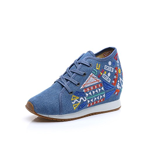 Chinese Embroidery Shoes Chinese style embroidered Canvas Shoes dancing shoes loafers blue