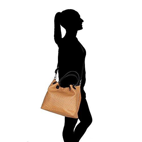 à Borse véritable en sangle bronzer en d'épaule Fabriqué en Italie Cm Sac cuir femme main 34x29x18 Chicca tressé cuir q4wgxRF