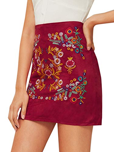 SheIn Women's Casual Floral Embroidered Bodycon Short Mini Skirt Burgundy-1 - Mini Suede