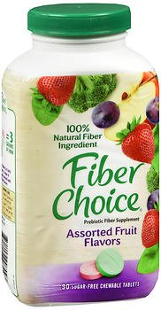 Fiber Choice Prebiotic Fiber Supplement Sugar-Free Chewable Tablets Assorted Fruit - 90 ct, Pack of 5