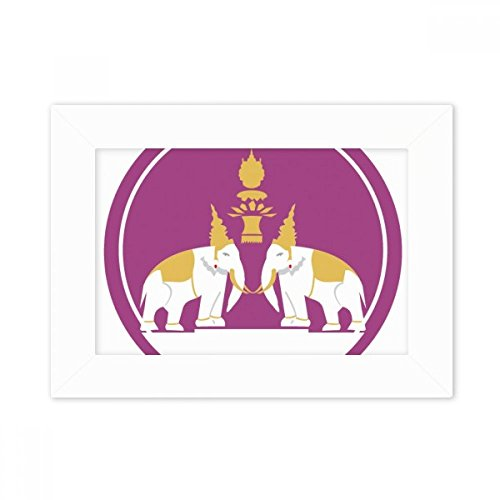 DIYthinker Thailand Made in Thailand Two Elephant Shield Desktop Photo Frame White Picture Art Painting 5x7 inch by DIYthinker