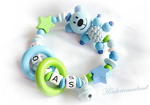 Greifling / Rassel mit Namen, Teddy, Stern, Bär, Glöckchen, Greifring, Junge, blau, grün