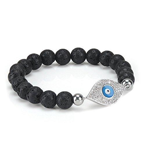 Essential Oil Diffuser Bracelet for Women 8mm Lava Rock Stone Elastic Beaded Healing Energy Chakra Religious Mala Jewelry with Silver Diamond Evil Eye (Eye Diamond Bracelet)