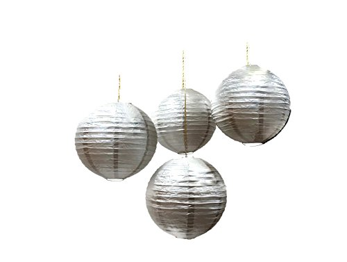 Chinese Paper Lanterns, Silver, 12