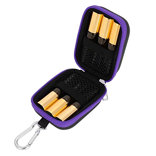 6Pcs Essential Oil Bag for Roller Bottles Waterproof Hard Shell Bag Organizer Case, with 5ml Portable Rollers Mini Essential Oil Bottles(Purple)