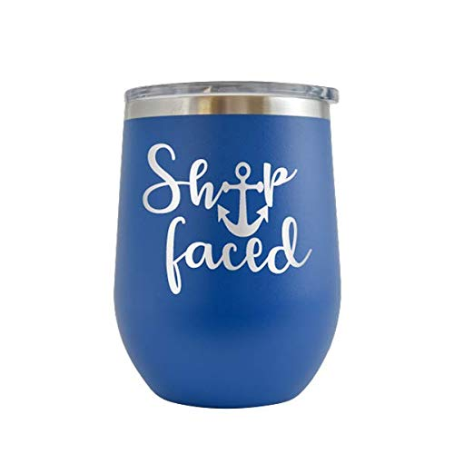 Ship Faced - Engraved 12 oz Stemless Wine Tumbler Cup Glass Etched - Funny Birthday Gift Ideas for him, her, mom, dad, husband, wife Vacation Getaway Cruise Holiday Travel ship (Royal Blue - 12 oz) (Getaway Ideas Christmas)