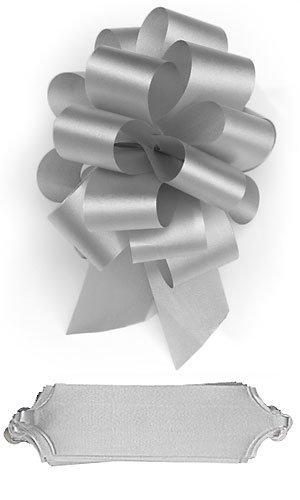 10 Silver Pull Bows 5.5 Inch Diameter 20 Loops Wrapping Wrap Ribbon Bow