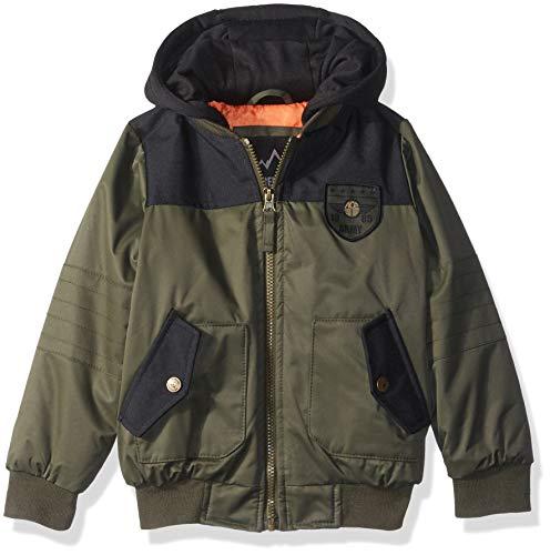 (iXtreme Boys' Little Flight Bomber Jacket with Hood, Olive, 4)