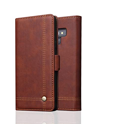 Samsung Note 9 Case,Galaxy Note 9 Wallet Case,FLYEE Ultra Thin Slim Folio Cover PU Leather Magnetic Protective Cover with Credit Card Slots, Cash Pocket,Stand Holder for Samsung Galaxy Note 9 Brown