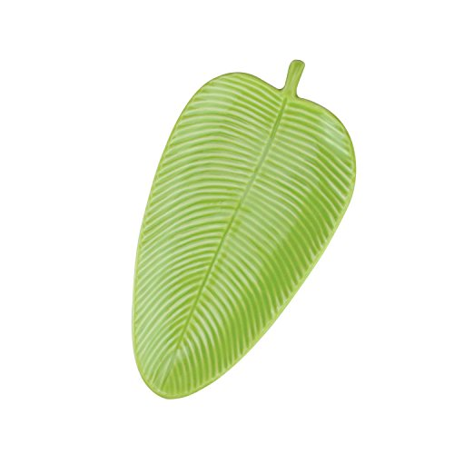 "Plate Banana Leaf - 10.5"" Chartreuse Green Textured Ceramic Banana Leaf Tray"