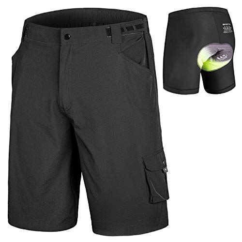 - qualidyne Men's MTB Shorts Padded Mountain Bike Shorts, Loose Fit Cycling Shorts with Removable Liner