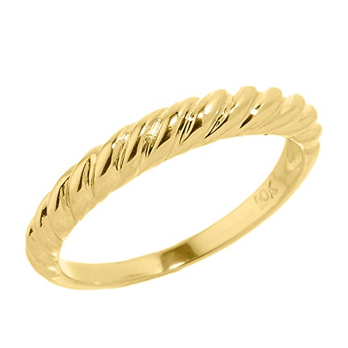 Stackable 10k Yellow Gold Mid Finger Twisted Knot Knuckle Ring, Size 8 (Claddagh Knot Ring Gold)
