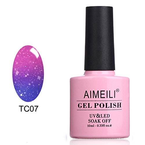 AIMEILI Soak Off UV LED Temperature Color Changing Chameleon Gel Nail Polish - Aqua Mist (TC07) 10ml - Mist Nail Lacquer
