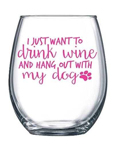 I Just Want to Drink Wine and Hang Out With My Dog 21oz Large Stemless Wine Glass - Funny Wine Glasses for Moms, Sisters, Best Friends by Owings Designs (Image #2)