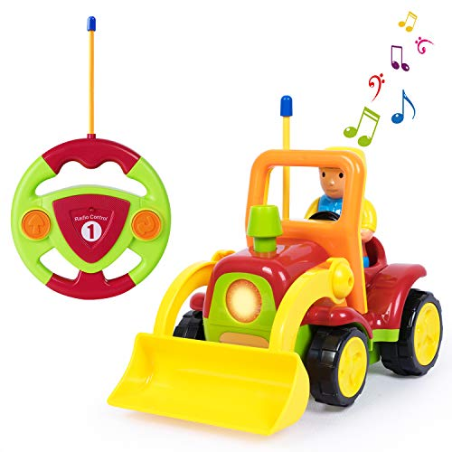 - SGILE RC Dump Truck Tractor Toy, Remote Control Truck Bulldozer Car Toy with Music Radio, Birthday Gift Present for Toddlers Baby Kids Child,Yellow