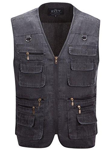 Outdoor Fishing Vest,Mens Multi Pockets Photography Athletic Jacket Grey US XXXL/Label 7XL (Vest Fisherman)