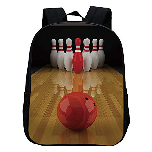 Bowling Party Decorations Durable Kindergarten Shoulder Bag,Alley with Red Skittle in Center Target Score Winning Decorative For school,11.8