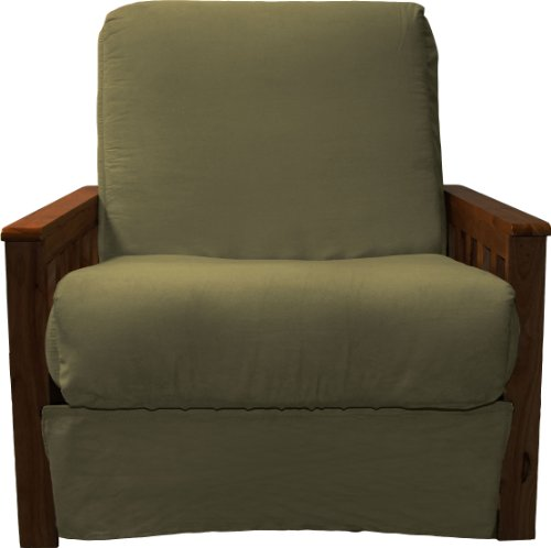 Berkeley Perfect Sit & Sleep Pocketed Coil Inner Spring Pillow Top Chair Sleeper Child-size Bed, Chair-size, Walnut Arm Finish, Microfiber Suede Olive Green Upholstery