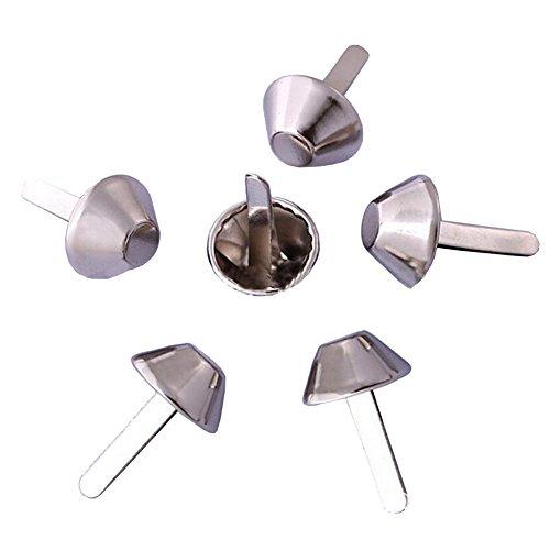 BESTCYC 200Pcs 10MM Silver Color Metal Bucket Shape Brads Paper Fastener Scrapbooking Card Making Arts Crafts Brads ()