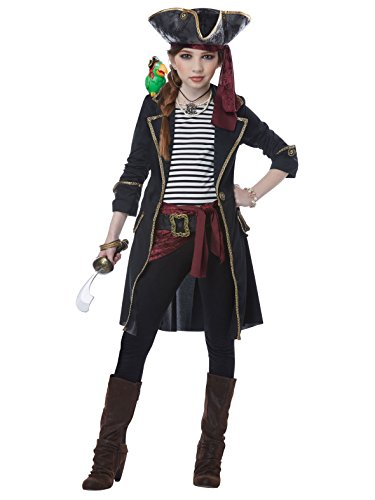 (High Seas Captain Girls Costume Black/White)