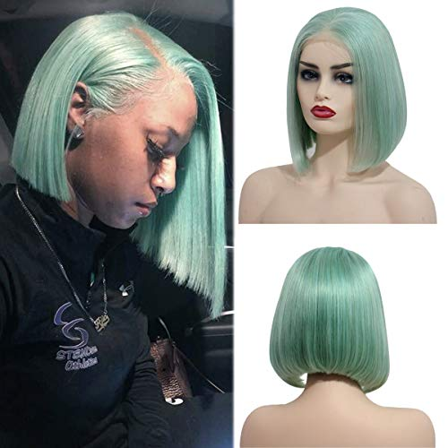 8 Inch Bob Human Hair Mint Green Straight Lace Front Wig Pre Plucked with Baby Hairs 180% Density Thick Full Glueless Wig 13x4 Middle Part Short Bob Wigs for Women