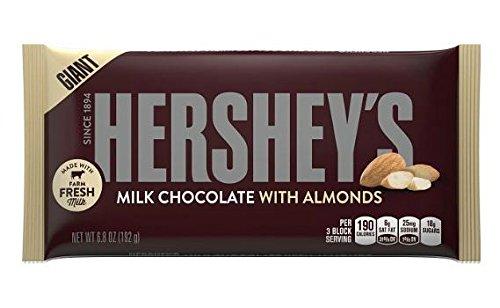HERSHEY'S GIANT Milk Almonds Chocolate Bars Pack (6.8 oz, 2 Count)