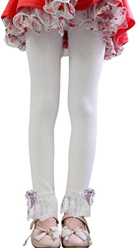 Summer Fairy Lace Wings - Girls Solid Color Leggings with Lace Trim Ribbon Bowknot