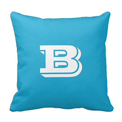 Bright Cerulean University Monogram Toss Pillow Case (Toss Pillow University)