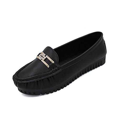 Zapatos verano de fondo plano/De las mujeres fondo suave metal zapatos casual Negro