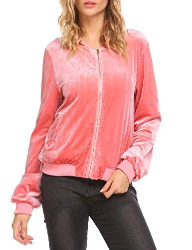 (EASTHER Women's Velvet Jacket Long Sleeve Cropped Zip Up Velvet Winter Coat)