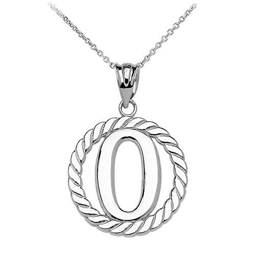 """Collier Femme Pendentif 14 Ct Or Blanc """"O"""" Initiale À Corde Cercle (Livré avec une 45cm Chaîne)"""