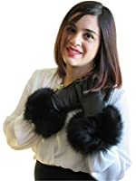Cashmere Lined Lambskin Black Leather Gloves w/Fox Trim
