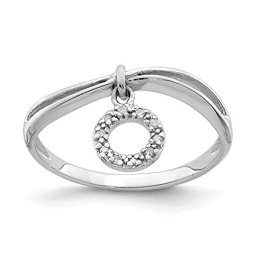 925 Sterling Silver Diamond Circle Dangle Band Ring Size 7.00 Fine Jewelry Gifts For Women For -