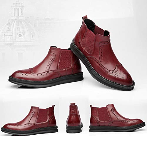 Chelsea Brock Burgundy Boots Martin Stivali Coreano da British Uomo Pointed Stivali 1wSPIq8S