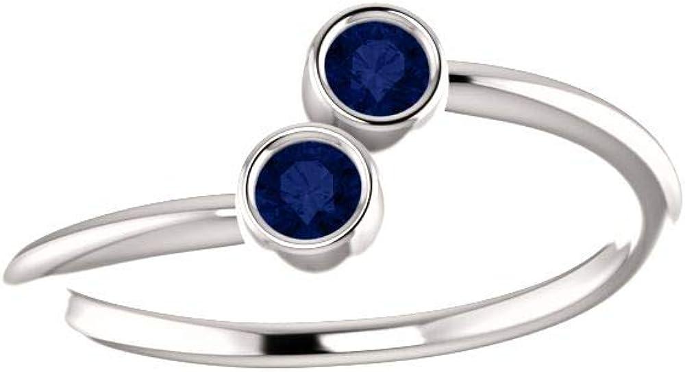 14K White Chatham/Â Created Blue Sapphire Earrings